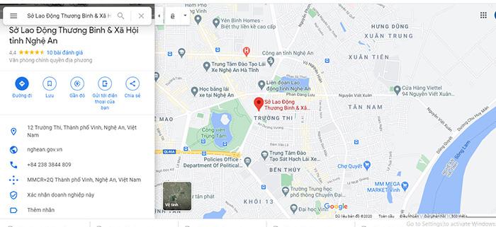 Vị trí đặt trụ sở làm việc của Sở lao động - thương binh và Xã hội tỉnh Nghệ An